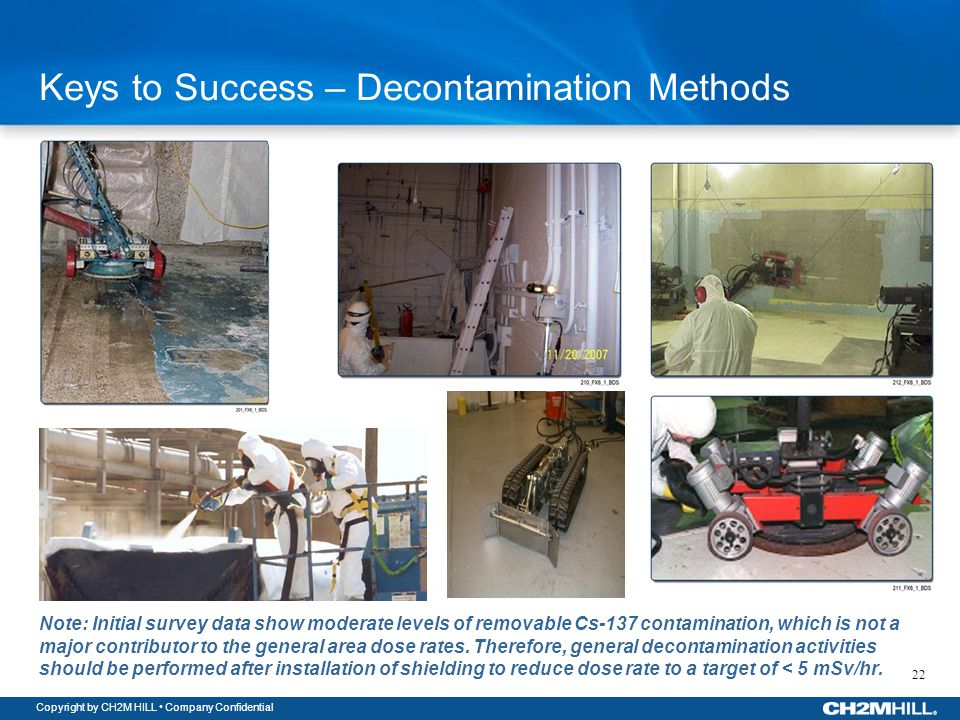 Copyright by CH2M HILL Company Confidential Keys to Success – Decontamination Methods Note: Initial survey data show moderate levels of removable Cs-137 contamination, which is not a major contributor to the general area dose rates.