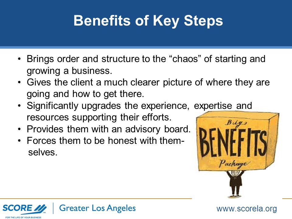 www.scorela.org Guidance Creating the list of start-up steps Performing a frank self-evaluation Setting priority objectives and actions/timing to achieve them (and indentifying appropriate Score workshops) Finding other people (mentors, etc) to help the client Provide: General business advice and brainstorming ideas Encouragement when the client face obstacles Be a sounding board particularly regarding business strategy Hold the client accountable to their commitments.