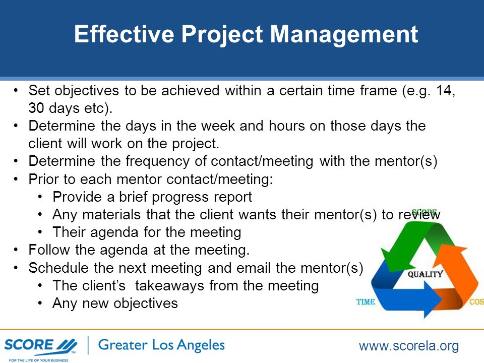 www.scorela.org Set objectives to be achieved within a certain time frame (e.g.