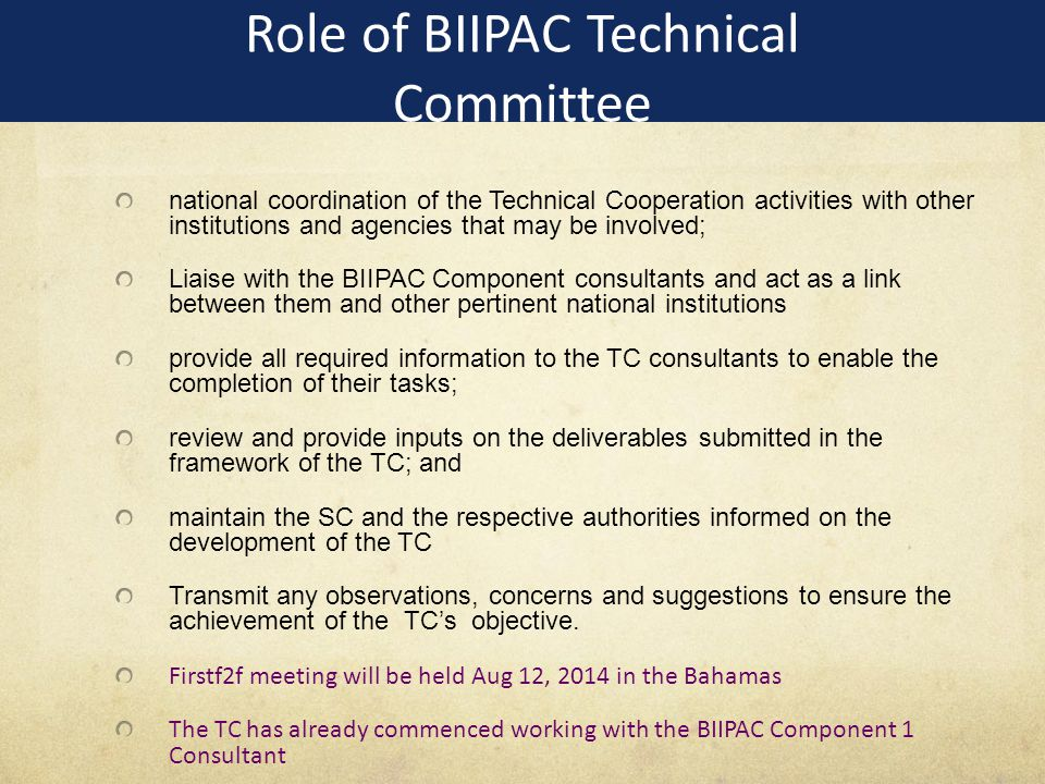 Role of BIIPAC Technical Committee national coordination of the Technical Cooperation activities with other institutions and agencies that may be involved; Liaise with the BIIPAC Component consultants and act as a link between them and other pertinent national institutions provide all required information to the TC consultants to enable the completion of their tasks; review and provide inputs on the deliverables submitted in the framework of the TC; and maintain the SC and the respective authorities informed on the development of the TC Transmit any observations, concerns and suggestions to ensure the achievement of the TC's objective.