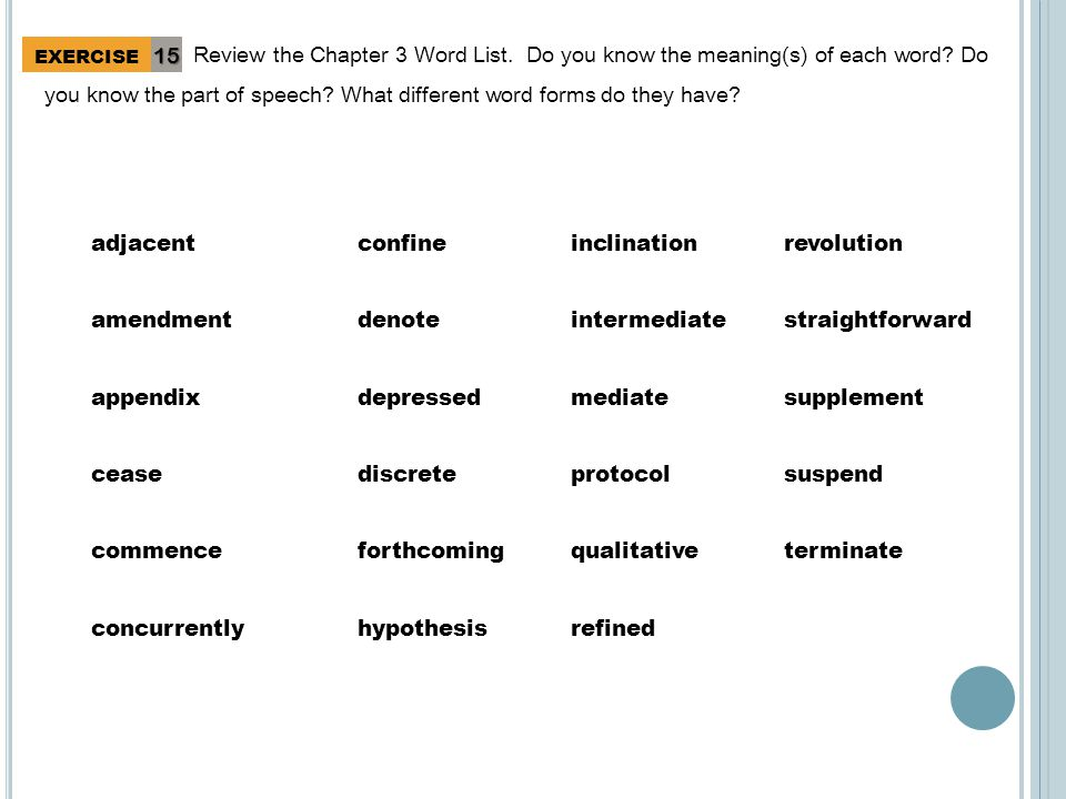 Review the Chapter 3 Word List. Do you know the meaning(s) of each word.