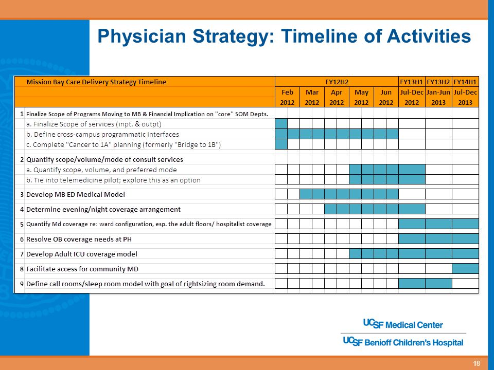 Physician Strategy: Timeline of Activities 18