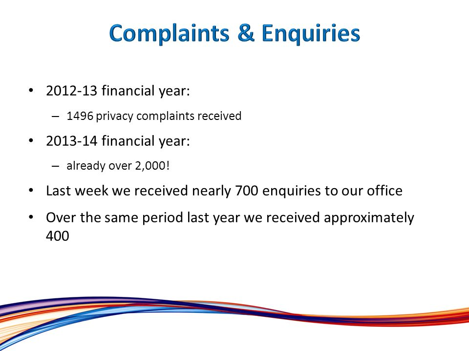 2012-13 financial year: – 1496 privacy complaints received 2013-14 financial year: – already over 2,000.