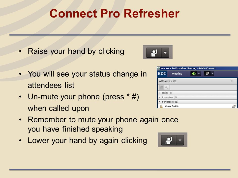 Connect Pro Refresher Raise your hand by clicking You will see your status change in attendees list Un-mute your phone (press * #) when called upon Remember to mute your phone again once you have finished speaking Lower your hand by again clicking