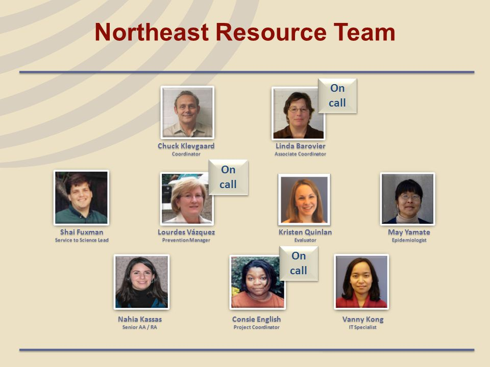 Northeast Resource Team Shai Fuxman Service to Science Lead Nahia Kassas Senior AA / RA Chuck Klevgaard Coordinator Linda Barovier Associate Coordinator Lourdes Vázquez Prevention Manager Kristen Quinlan Evaluator May Yamate Epidemiologist Consie English Project Coordinator Vanny Kong IT Specialist On call