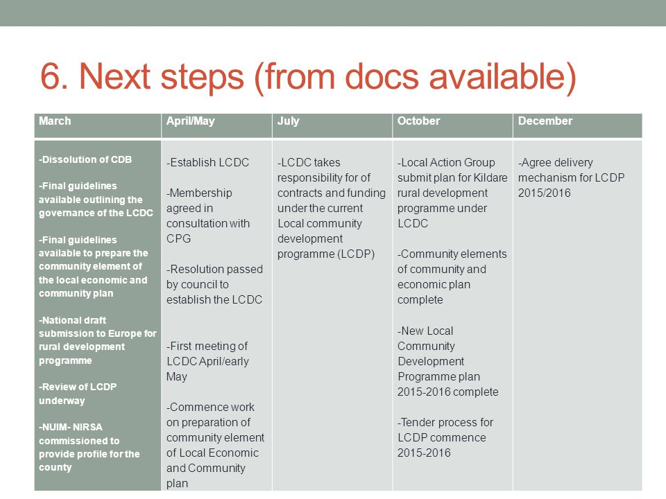 6. Next steps (from docs available) MarchApril/MayJulyOctoberDecember -Dissolution of CDB -Final guidelines available outlining the governance of the
