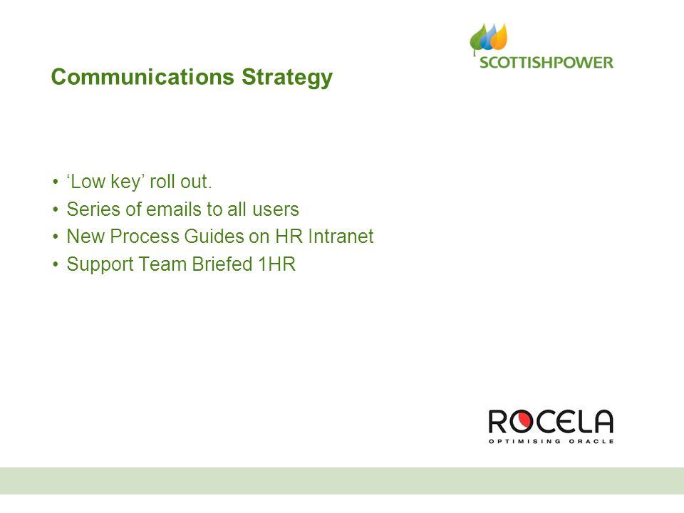 Communications Strategy 'Low key' roll out. Series of emails to all users New Process Guides on HR Intranet Support Team Briefed 1HR