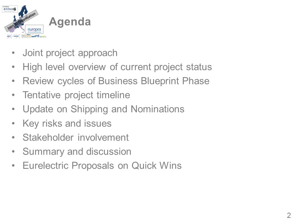 Agenda Joint project approach High level overview of current project status Review cycles of Business Blueprint Phase Tentative project timeline Update on Shipping and Nominations Key risks and issues Stakeholder involvement Summary and discussion Eurelectric Proposals on Quick Wins 2