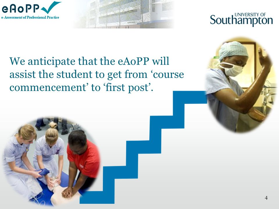 4 We anticipate that the eAoPP will assist the student to get from 'course commencement' to 'first post'.
