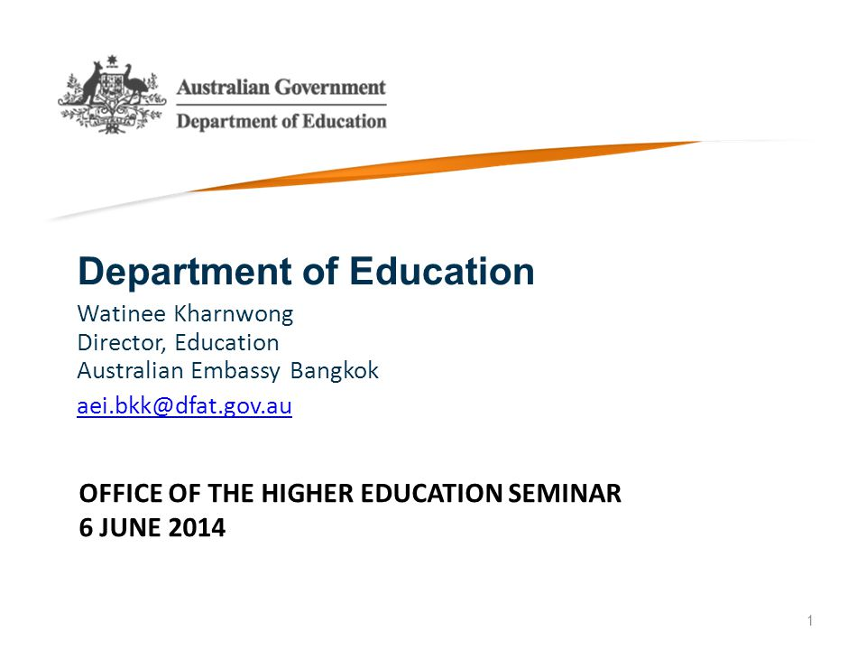 OFFICE OF THE HIGHER EDUCATION SEMINAR 6 JUNE 2014 Department of Education Watinee Kharnwong Director, Education Australian Embassy Bangkok aei.bkk@df