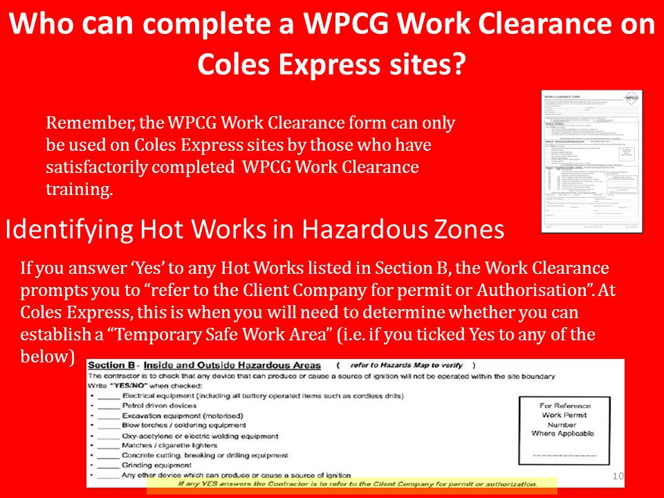 Who can complete a WPCG Work Clearance on Coles Express sites.