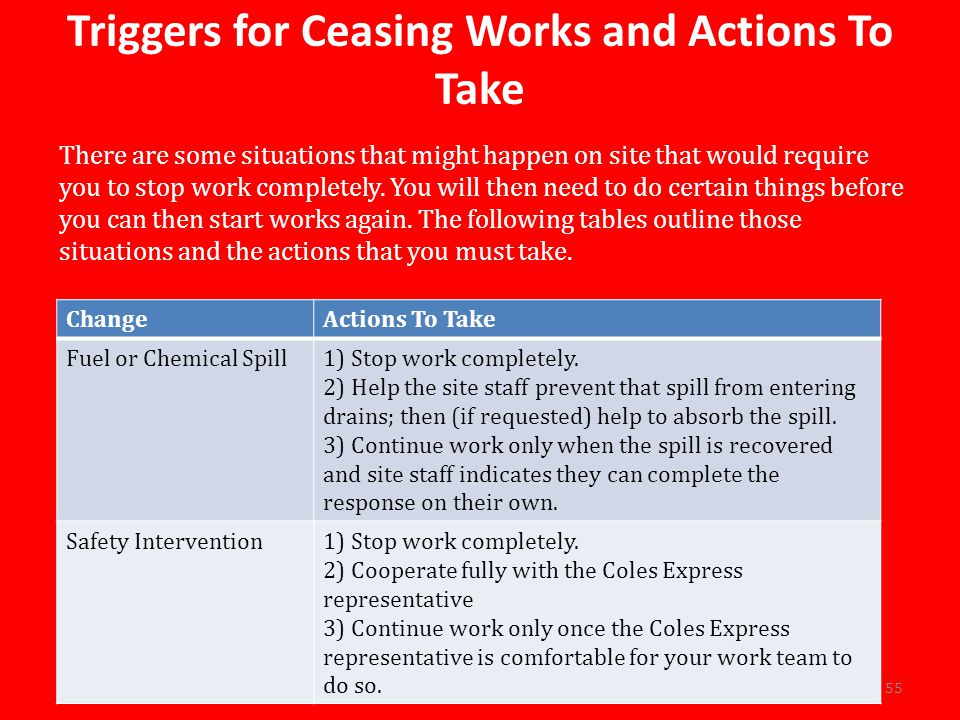 ChangeActions To Take Fuel or Chemical Spill1) Stop work completely.