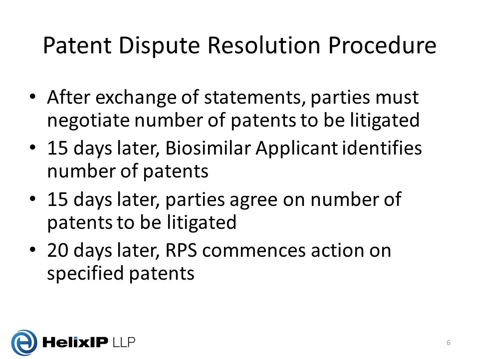 Patent Dispute Resolution Procedure After exchange of statements, parties must negotiate number of patents to be litigated 15 days later, Biosimilar Applicant identifies number of patents 15 days later, parties agree on number of patents to be litigated 20 days later, RPS commences action on specified patents 6