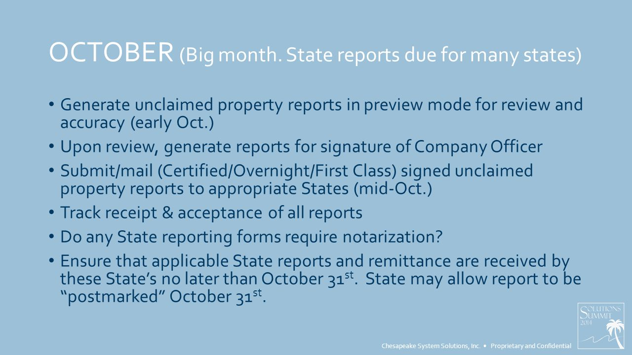 Chesapeake System Solutions, Inc. Proprietary and Confidential OCTOBER (Big month.