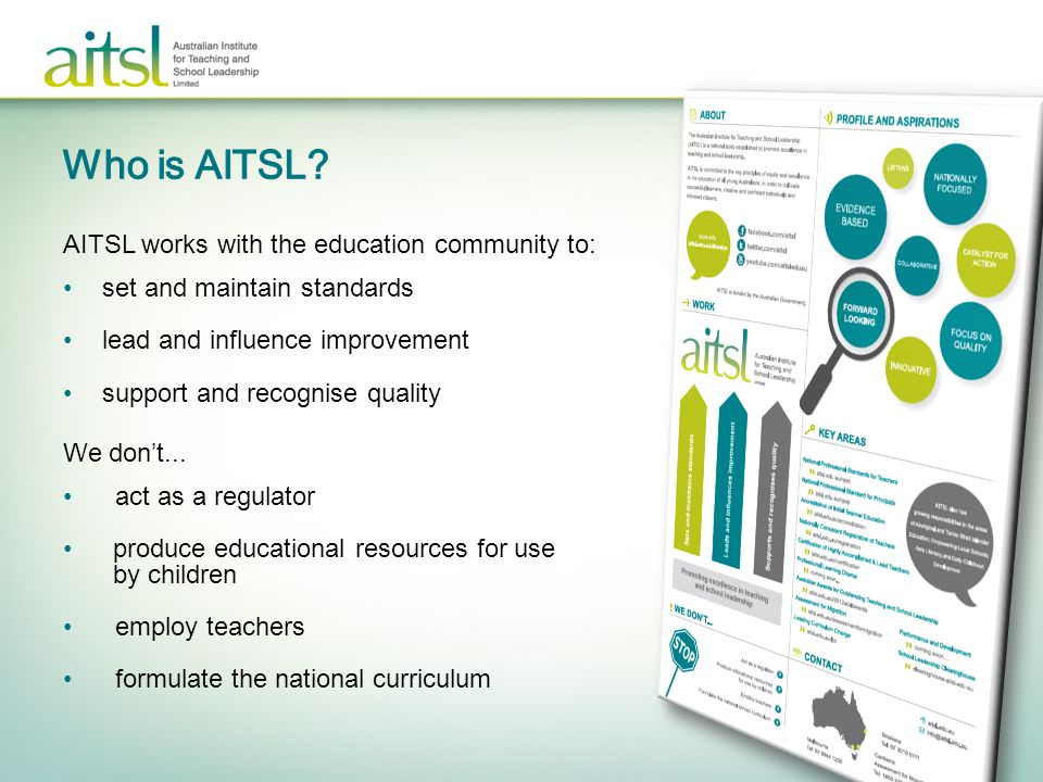 >Determine the: –usefulness –effectiveness of implementation –impact of the National Professional Standards for Teachers.