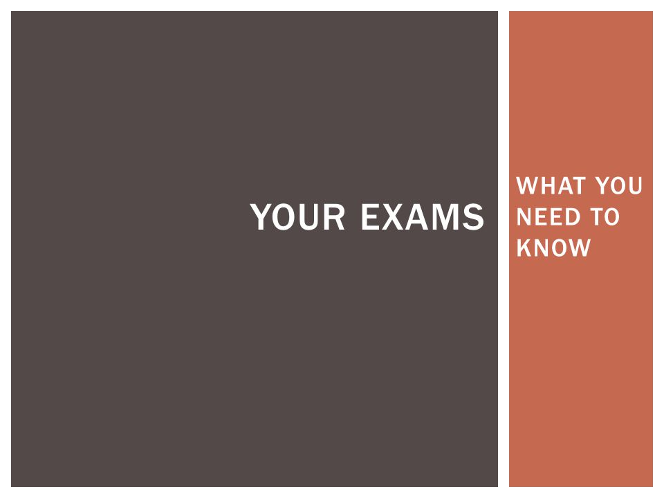 WHAT YOU NEED TO KNOW YOUR EXAMS