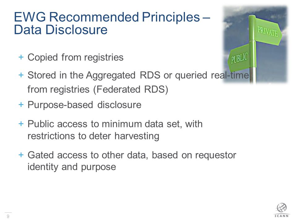 Registrar Aggregated RDS Aggregated RDS Registrants Requestors Stores copies of Data Validates Collected Data Handles All Queries (public & authenticated) Licenses Requestors Applies Gating Policy Returns Allowed Data Audits Data Access Additional Services Stores copies of Data Validates Collected Data Handles All Queries (public & authenticated) Licenses Requestors Applies Gating Policy Returns Allowed Data Audits Data Access Additional Services Data Collection Data Storage Data Access Enabled via Periodic Data Copies for all gTLDs Registrar Registrars gTLD Registries gTLD Registries Purpose-Driven Data Disclosure via Public & Authenticated Access Methods gTLD Registries gTLD Registries gTLD Registries gTLD Registries Aggregated RDS Model