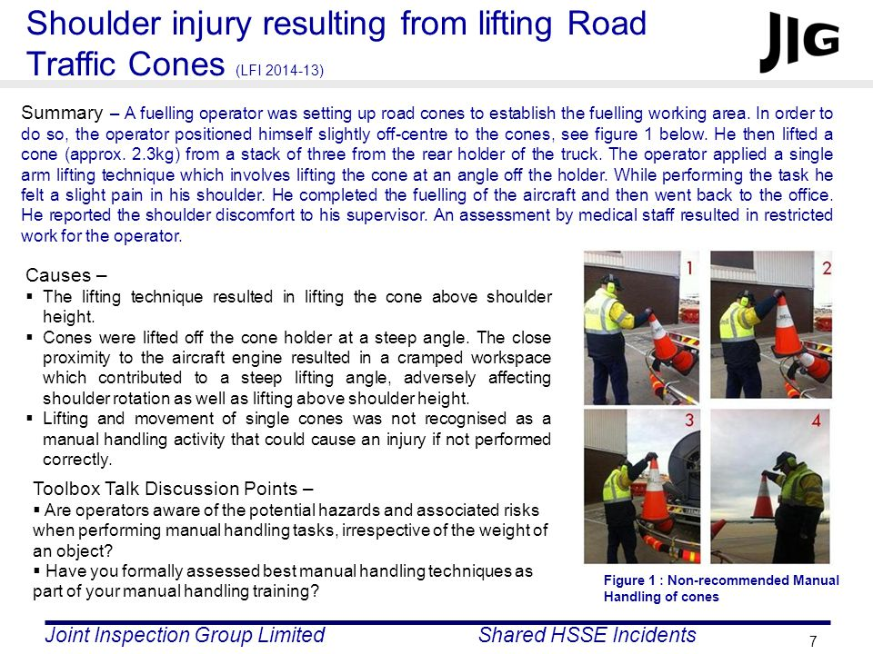 Joint Inspection Group LimitedShared HSSE Incidents 7 Shoulder injury resulting from lifting Road Traffic Cones (LFI 2014-13) Summary – A fuelling operator was setting up road cones to establish the fuelling working area.