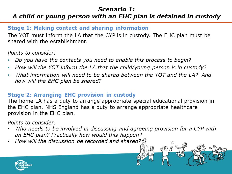 Stage 1: Making contact and sharing information The YOT must inform the LA that the CYP is in custody. The EHC plan must be shared with the establishm
