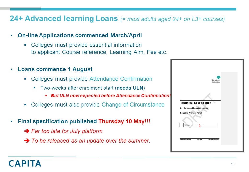 24+ Advanced learning Loans (= most adults aged 24+ on L3+ courses) On-line Applications commenced March/April  Colleges must provide essential information to applicant Course reference, Learning Aim, Fee etc.