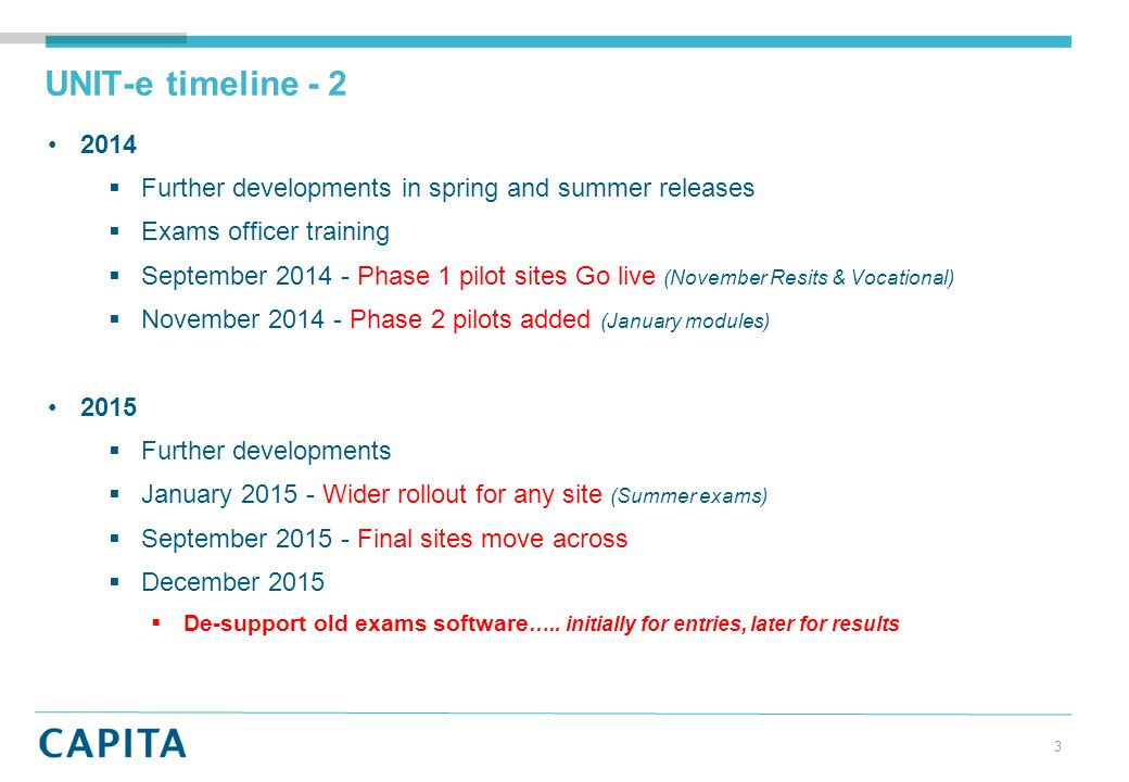 UNIT-e timeline - 2 2014  Further developments in spring and summer releases  Exams officer training  September 2014 - Phase 1 pilot sites Go live (November Resits & Vocational)  November 2014 - Phase 2 pilots added (January modules) 2015  Further developments  January 2015 - Wider rollout for any site (Summer exams)  September 2015 - Final sites move across  December 2015  De-support old exams software …..