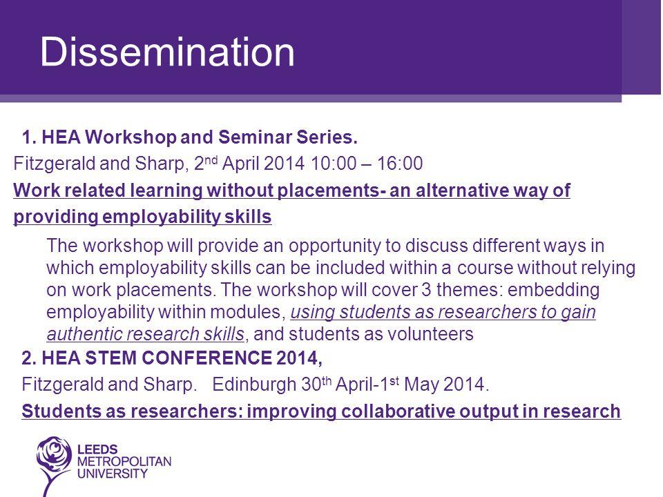 Dissemination 1. HEA Workshop and Seminar Series.