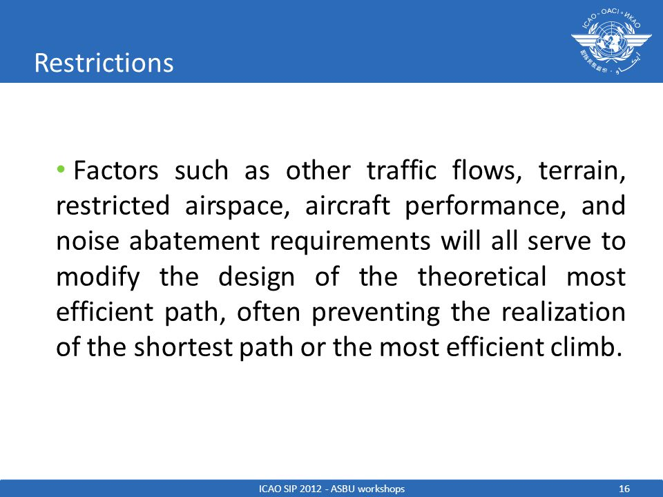 17 Basic CCO ICAO SIP 2012 - ASBU workshops Allows for unrestricted climb rates for all aircraft Requires a significant amount of vertical airspace be set aside to protect the climb May also extend the route in order to give lower performing aircraft the distance necessary to clear obstacles