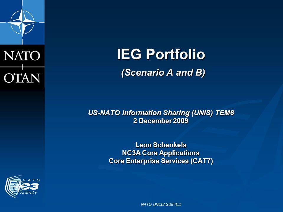 NATO UNCLASSIFIED IEG Portfolio (Scenario A and B) US-NATO Information Sharing (UNIS) TEM6 2 December 2009 Leon Schenkels NC3A Core Applications Core