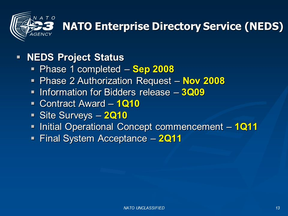 13 NATO Enterprise Directory Service (NEDS)  NEDS Project Status  Phase 1 completed – Sep 2008  Phase 2 Authorization Request – Nov 2008  Informat