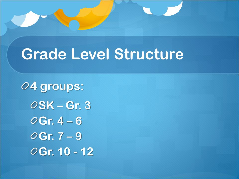 Grade Level Structure 4 groups: SK – Gr. 3 Gr. 4 – 6 Gr. 7 – 9 Gr. 10 - 12