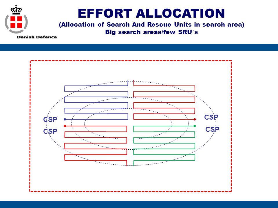 EFFORT ALLOCATION (Allocation of Search And Rescue Units in search area) Big search areas/few SRU´s CSP