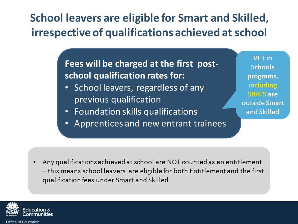 School leavers are eligible for Smart and Skilled, irrespective of qualifications achieved at school Fees will be charged at the first post- school qualification rates for: School leavers, regardless of any previous qualification Foundation skills qualifications Apprentices and new entrant trainees VET in Schools programs, including SBATS are outside Smart and Skilled Any qualifications achieved at school are NOT counted as an entitlement – this means school leavers are eligible for both Entitlement and the first qualification fees under Smart and Skilled
