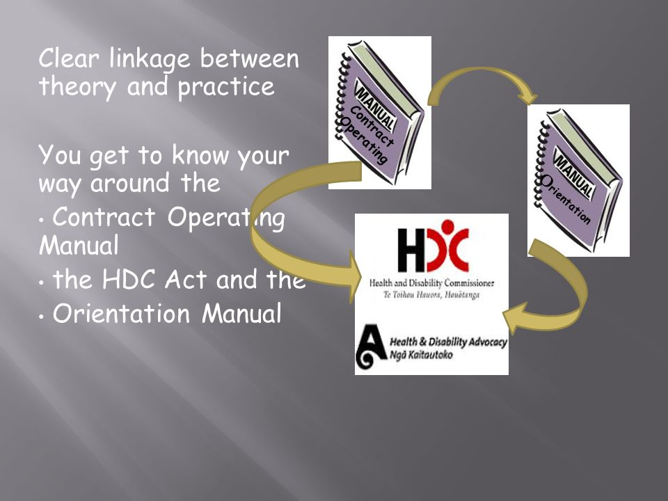 Clear linkage between theory and practice You get to know your way around the Contract Operating Manual the HDC Act and the Orientation Manual Contrac