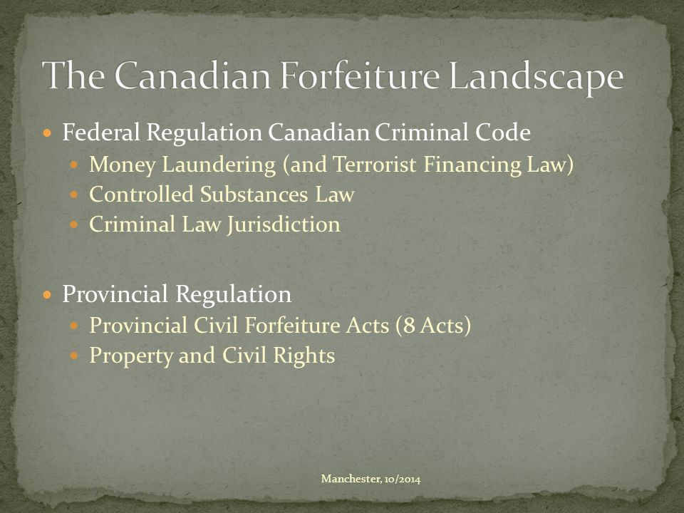 Federal Regulation Canadian Criminal Code Money Laundering (and Terrorist Financing Law) Controlled Substances Law Criminal Law Jurisdiction Provincia