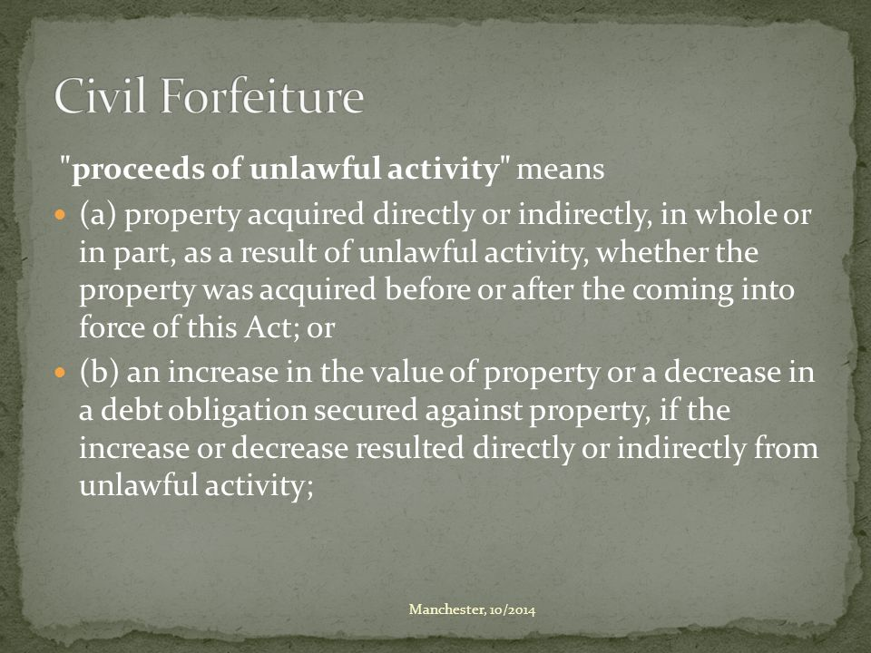 instrument of unlawful activity means property that (a) has been used to engage in unlawful activity that, in turn, (i) resulted in or was likely to result in the acquisition of property, or (ii) caused or was likely to cause serious bodily harm to a person; or (b) is likely to be used to engage in unlawful activity that, in turn, would be likely to, or is intended to, (i) result in the acquisition of property, or (ii) cause serious bodily harm to a person.