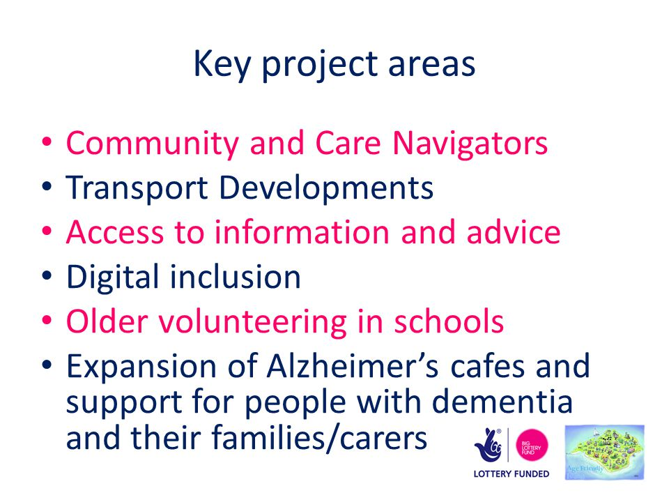 Key project areas Community and Care Navigators Transport Developments Access to information and advice Digital inclusion Older volunteering in schools Expansion of Alzheimer's cafes and support for people with dementia and their families/carers
