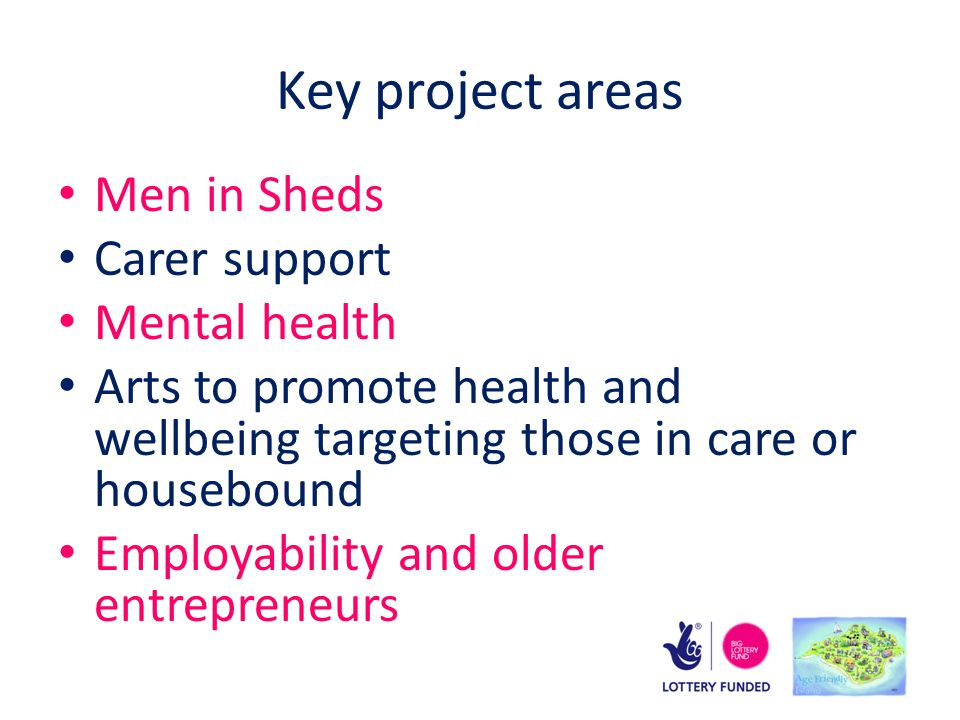 Key project areas Men in Sheds Carer support Mental health Arts to promote health and wellbeing targeting those in care or housebound Employability and older entrepreneurs