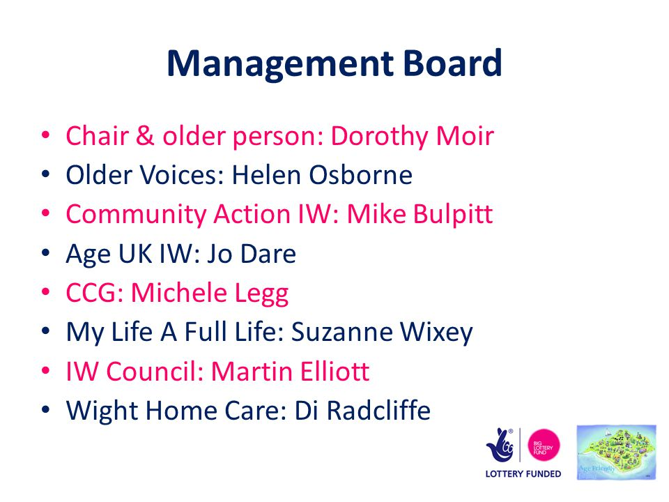 Management Board Chair & older person: Dorothy Moir Older Voices: Helen Osborne Community Action IW: Mike Bulpitt Age UK IW: Jo Dare CCG: Michele Legg My Life A Full Life: Suzanne Wixey IW Council: Martin Elliott Wight Home Care: Di Radcliffe