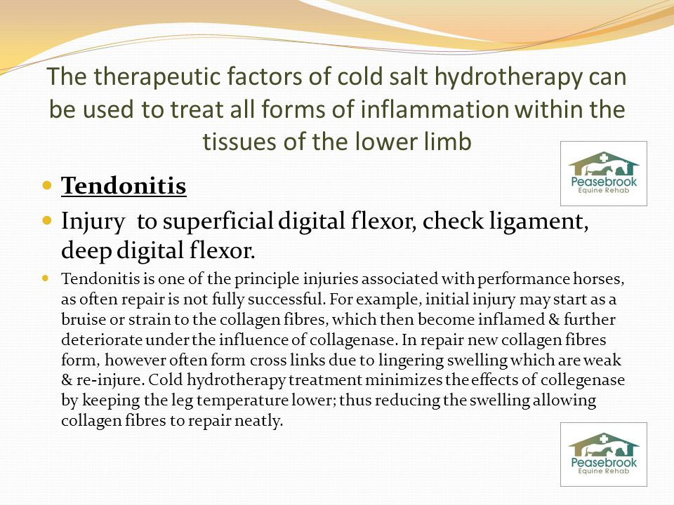 The therapeutic factors of cold salt hydrotherapy can be used to treat all forms of inflammation within the tissues of the lower limb Tendonitis Injury to superficial digital flexor, check ligament, deep digital flexor.