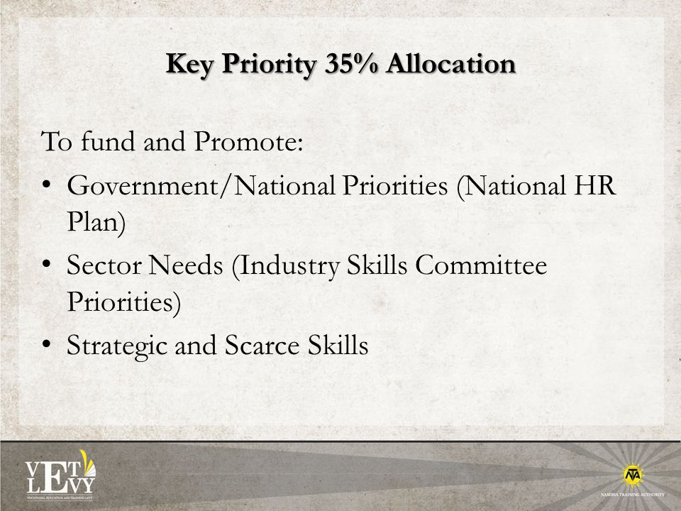 Key Priority 35% Allocation To fund and Promote: Government/National Priorities (National HR Plan) Sector Needs (Industry Skills Committee Priorities) Strategic and Scarce Skills