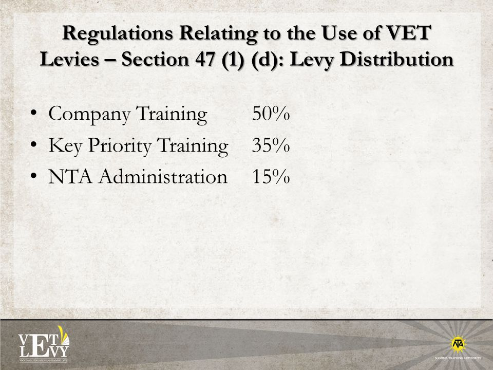 Regulations Relating to the Use of VET Levies – Section 47 (1) (d): Levy Distribution Company Training 50% Key Priority Training 35% NTA Administration 15%
