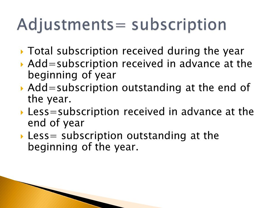  Total subscription received during the year  Add=subscription received in advance at the beginning of year  Add=subscription outstanding at the en