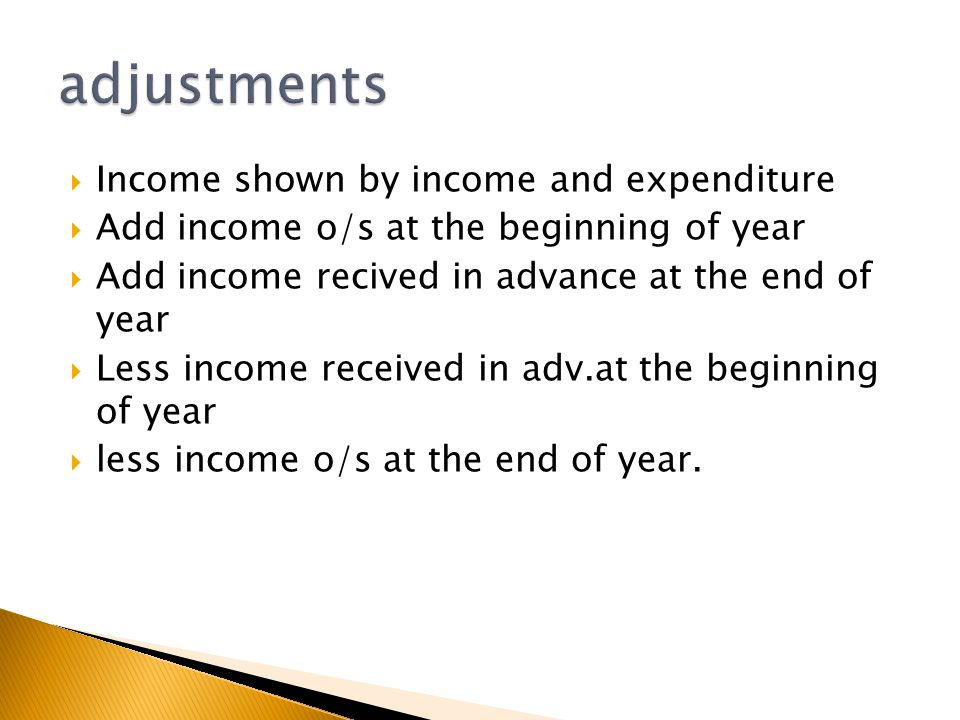  Income shown by income and expenditure  Add income o/s at the beginning of year  Add income recived in advance at the end of year  Less income re