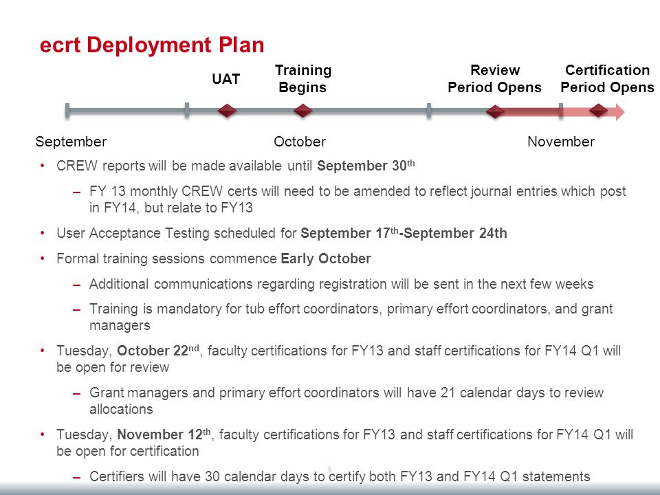 ecrt Deployment Plan 6 CREW reports will be made available until September 30 th –FY 13 monthly CREW certs will need to be amended to reflect journal