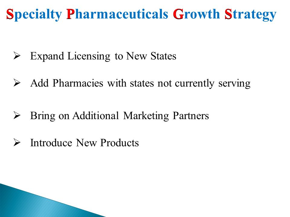 SP G S Specialty Pharmaceuticals Growth Strategy  Expand Licensing to New States  Add Pharmacies with states not currently serving  Bring on Additional Marketing Partners  Introduce New Products