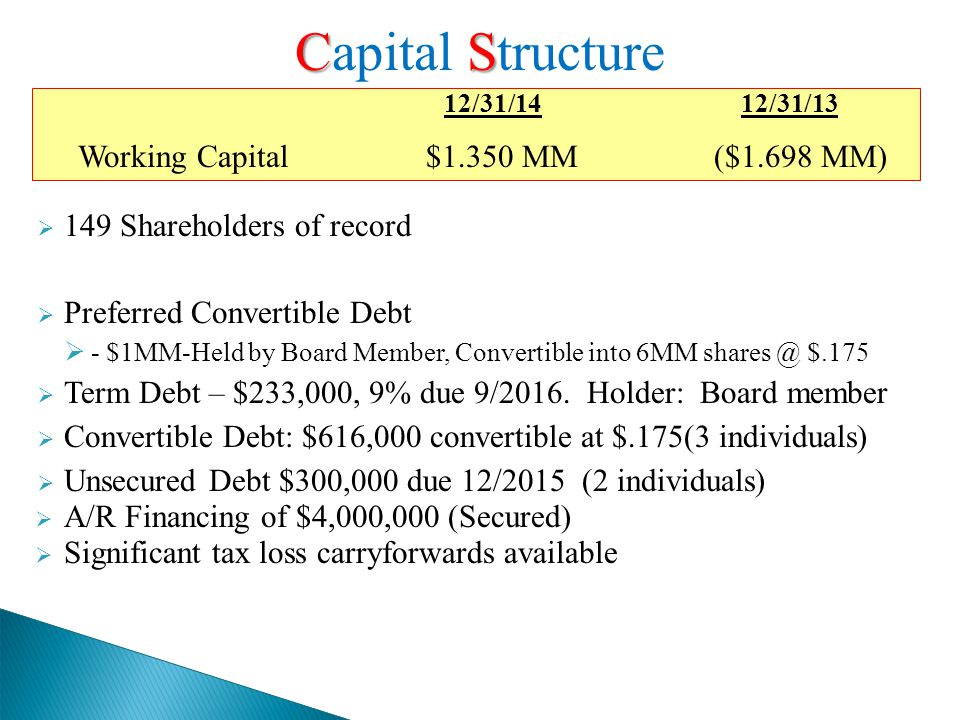  149 Shareholders of record  Preferred Convertible Debt  - $1MM-Held by Board Member, Convertible into 6MM shares @ $.175  Term Debt – $233,000, 9