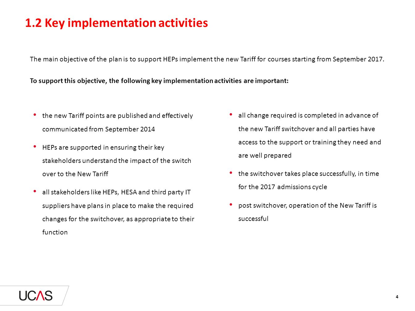 1.2 Key implementation activities The main objective of the plan is to support HEPs implement the new Tariff for courses starting from September 2017.