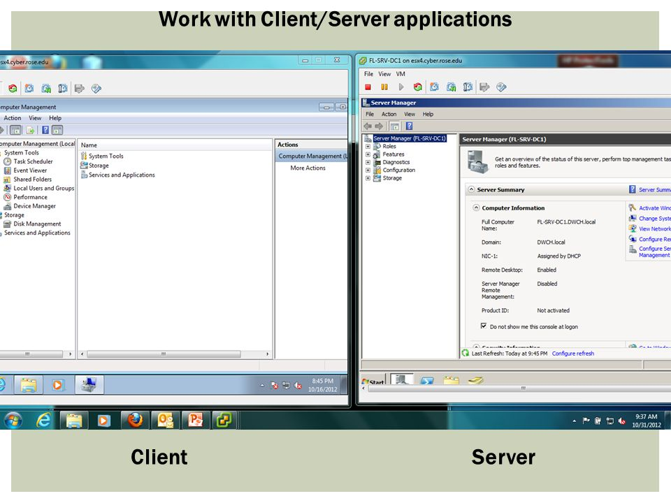 ClientServer Work with Client/Server applications