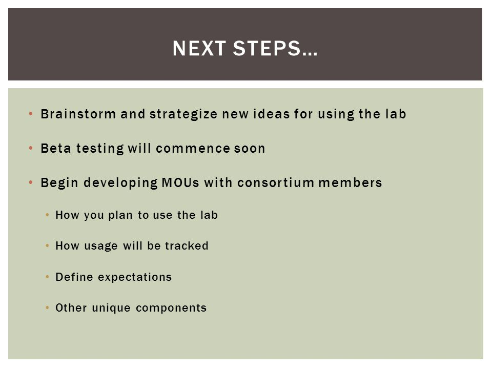 Brainstorm and strategize new ideas for using the lab Beta testing will commence soon Begin developing MOUs with consortium members How you plan to us