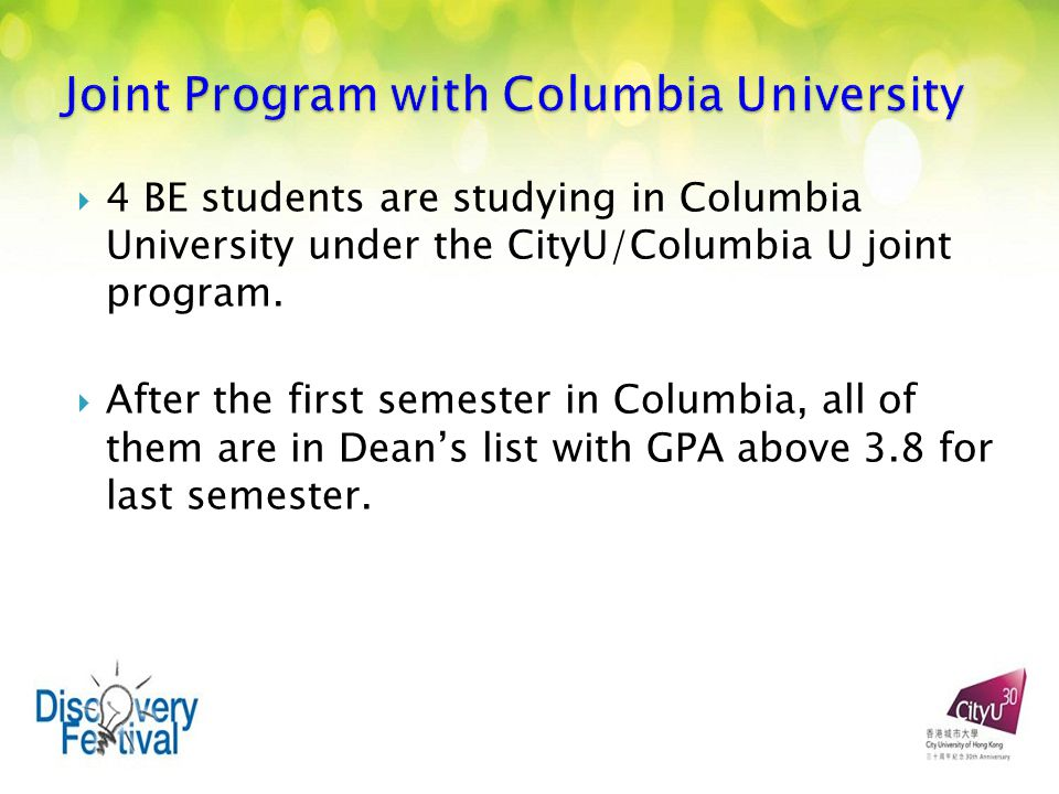  4 BE students are studying in Columbia University under the CityU/Columbia U joint program.
